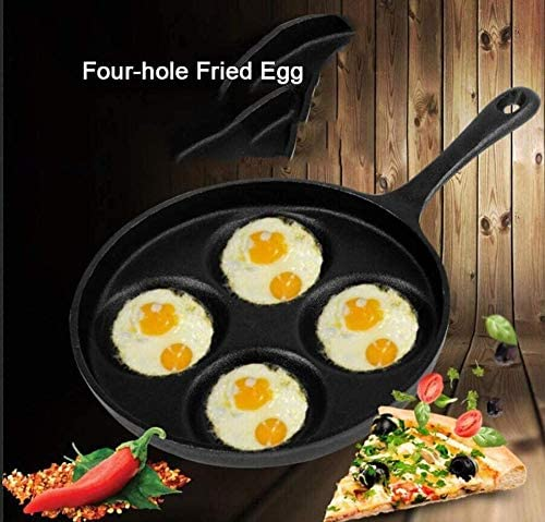 YAYY Iron Omelette Pan Noncoated Pan Breakfast Pot 4 Hole Mini Omelette Pan (Upgrade)