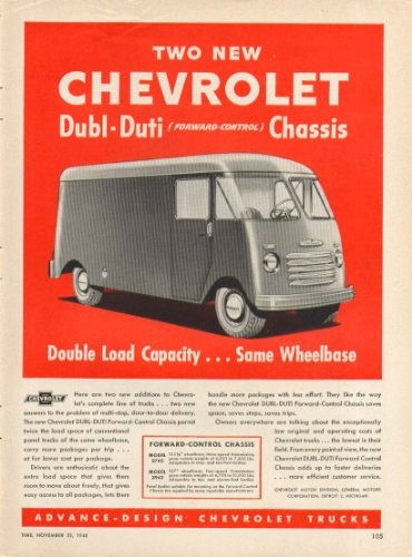 Two new Dubl-Duti FC Chassis Chevrolet Van ad 1948