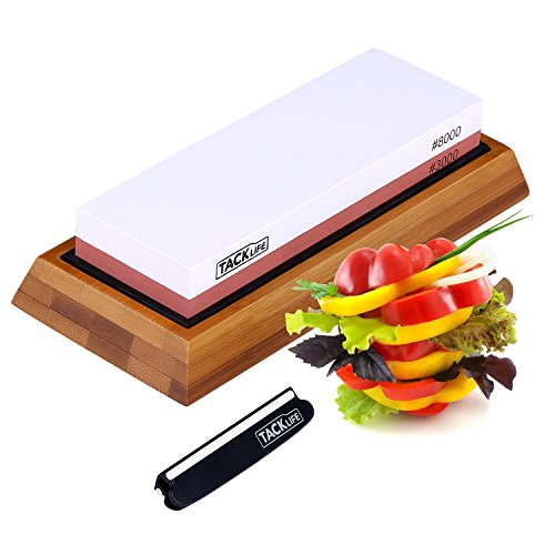 Premium Knife Sharpening Stone 3000/8000 Grits Double-Sided Whetstone with Non-Slip Bamboo Base and Rubber Base, Angle Guide - High Qualified White Corundum Waterstone - HSS2A