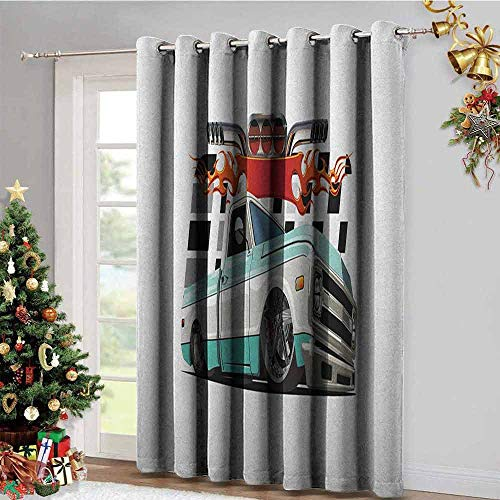Truck Black Out Window Gromets Curtain Drapes for Living Room, Lowrider Pickup with Racing Flag Pattern Background Speeding on The Streets Modified Printed Darkening Curtains, Multicolor, W96 x L72 ()