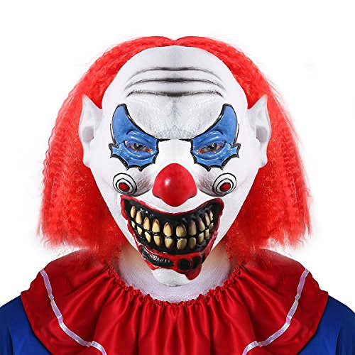 Halloween Costumes Scary Clown Mask (UNOMOR Halloween Scary Clown Mask with Red Hair for Adults Costume Party)