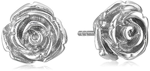 (Sterling Silver Rose Stud Earrings)
