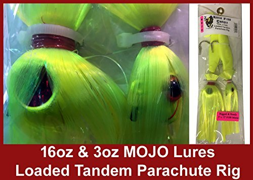 Blue Water Candy Rock Fish Candy 16 oz & 3 oz Mojo Lures Loaded with 9-Inch Swimbait Shad Bodies Tandem Parachute Rigged & Ready - Mojo Rock