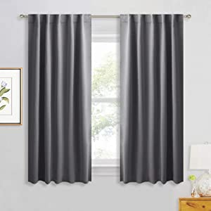 RYB HOME Grey Blackout Curtains - Thermal Insulated Window Drapes for Bedroom Kitchen Dining, Sunlight Block Blinds for Nursery Kid's Room, 42 Width by 54 Length, Gray, 2 Panels