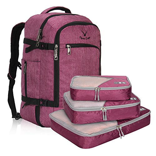 Hynes Eagle Travel Backpack 40L Flight Approved Carry on Backpack, RedViolet with 3PCS Packing Cubes