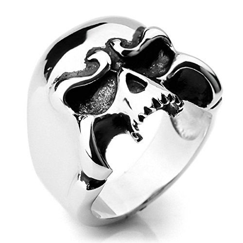 Halloween Costumes Santa Monica (Gnzoe Jewelry, Mens Large Stainless Steel Rings Silver Skull Gothic Biker Size 11)