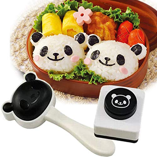 Velidy Bento Accessories Rice Ball Mold, Cartoon Panda Sushi Maker Mould Seaweed Cutter Bento Nori Kitchen Rice Mould for Kids PackedLunch Kitchen Tools
