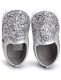Baby Boy Girls Sequin Crib Shoes Toddler Casual Glitter Moccasins Shoes Kids Sneakers
