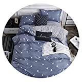 Super lucky shop-bedandbath Four-Piece Set Bed Textile,One Quilt Cover, One Bed Sheet, Two Pillowcases,Sky Blue,2x2.2m