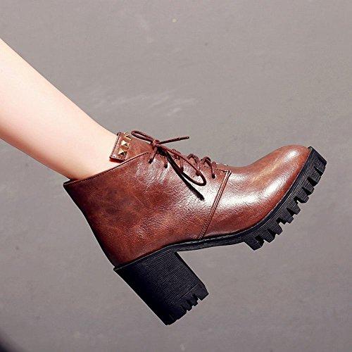 Latasa Mujeres Tachonado Con Cordones Block High Heels Tobillo Oxford Botas Marrón