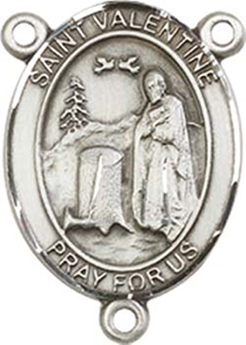 Sterling Silver Saint Valentine of Rome Rosary Centerpiece Medal, 3/4 Inch