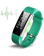Antimi Fitness Armband, Wasserdicht IP67 Fitness Tracker, Beachten kompatibel mit iPhone Android Handy , Schwarz
