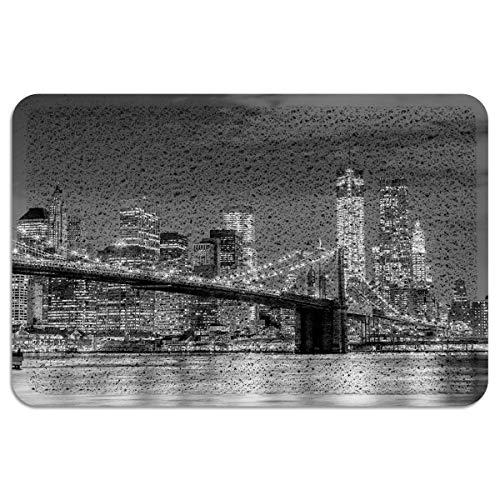 Libaoge Outdoor Door Mat, Brooklyn Bridge New York City Skyline Illuminated Heavy Duty Shoe Cleaning Exterior Door Mat Rubber Backing Rug for Outside Garage Home, 18x30 Inch -