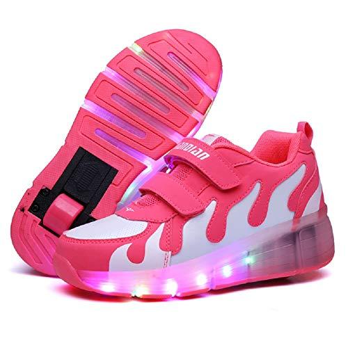 Nsasy YCOMI Girl's Boy's LED Light Up Single Wheel Double Wheel Shoes Roller Skate Shoes (36 M EU / 4 M US Big Kid)