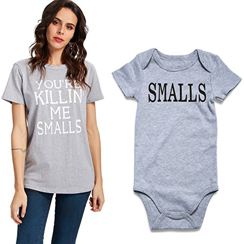 Uideazone Mother Son and Daughter Matching Set for Mom and Baby Boys Girls Short Sleeve Bodysuit ()