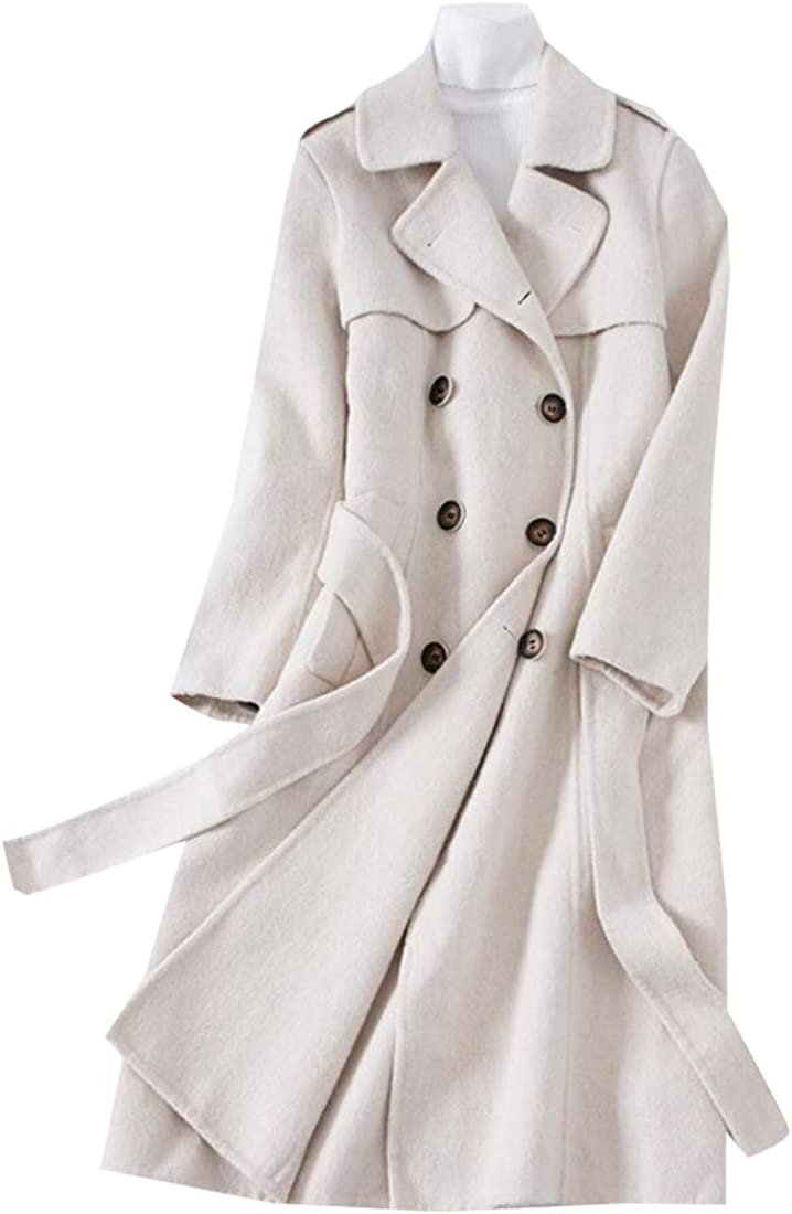 Generic Womens Classic Winter Lapel Double-Breasted Solid Color Outerwear Pea Coat with Belt