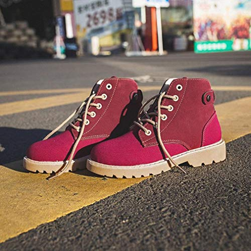 Fashion Head Autumn Leisure Red Round Retro Martin Winter Women up Boots Lace FALAIDUO Shoes ZwIW5RFqW