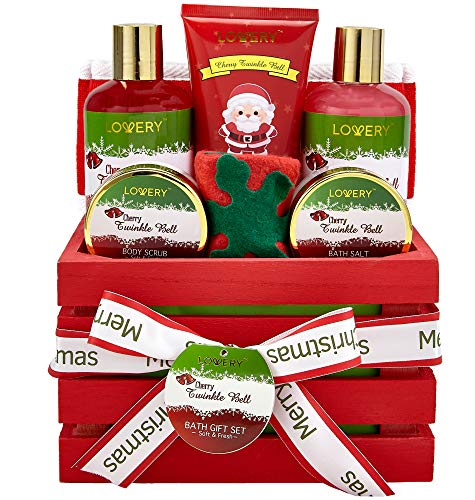 Bath and Body Christmas Gift Basket For Women and Men – Cherry Twinkle Bell Home Spa Set, Includes Fragrant Body Lotions, Bath Salts, Stocking Stuffer, Loofah Scrubber and More ()