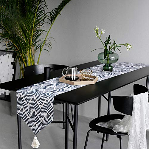 KIMODE Chevron Plastic Fringe Table Runner, Geometric Handmade Woven Cotton Canvas Fabric Decorative Table Runners Minimalist for Dinning Decoration Table Home Decor (14 in x 87 in, Navy Blue) ()