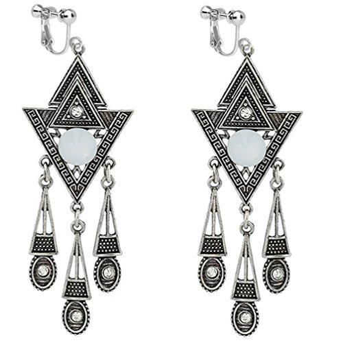 - Usresu Clip on Earrings Vintage Geometric Tassels Dangle Rhinestone Silver Tone Plated Costume