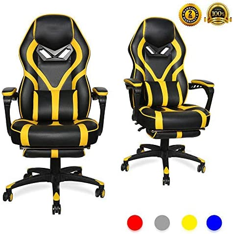 LUCKWIND Video Gaming Chair Racing Recliner – Ergonomic Adjustable Padded Armrest Swivel High Back Footrest with Headrest Lumbar Support PU Leather Breathable Seat Cushion Home Office Black Yellow