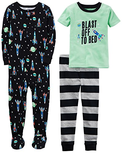 Carter's Boys' 3-Piece Cotton Snug-Fit Pajamas, Space, 24 Months ()