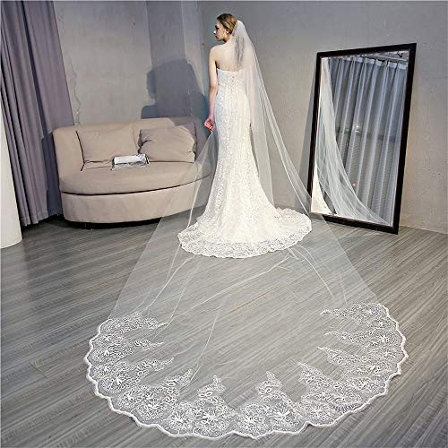PT Bride Long Veil with Comb, Wedding Veil Accessories Church lace Long Tulle Hair Accessories White,41.6m