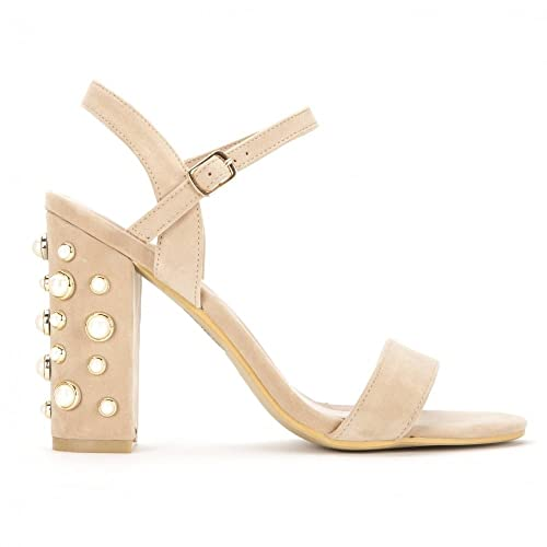 4d82cb5262e2 Shoe Closet Ladies Nude Pearl Barely There Strappy Sandals Peep Toes High  Heels UK6 EURO39