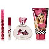 Barbie 4-Piece Eau de Toilette by Mattel, Lip Gloss and Body Lotion Set, 3.4 fl. Oz.