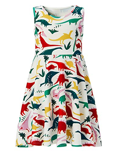 - Big Girl Colorful Dinosaur Retro Dresses Cute Red Pink Blue Green Yellow Animal Graphics Size 9 10 Little Princess Crew Neck Sleeveless Ruffles Summer Frocks for Dance Ball Festival Party Wear Skirts