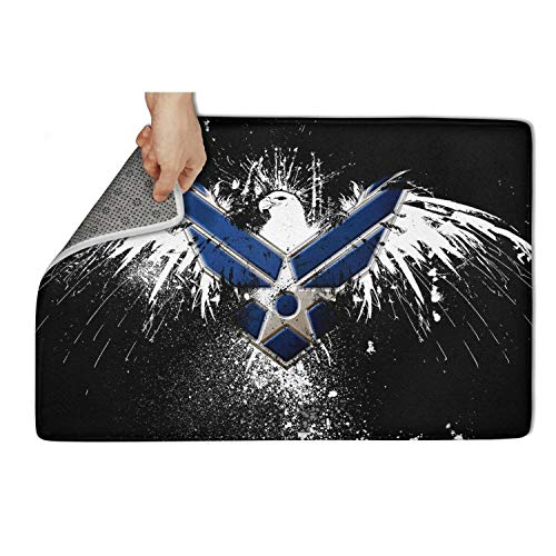 (fhmatx US Air Force Flag Bath Mat Kitchen Mat Non Slip Soft and Washable Doormat Cute Funny Welcome Floor Mat for Outdoor Or Indoor,23.5 X 15.5 Inch )