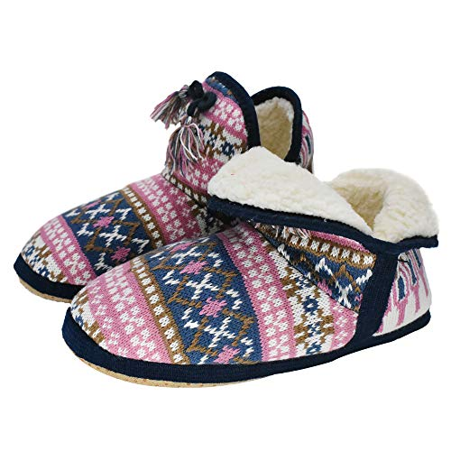 (GPOS Womens Cashmere Knit House Slipper Booties Cotton Quilted Warm Indoor Ankle Boots Foam Insole Pink)