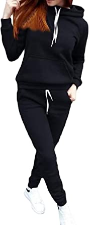 Abetteric Womens Pullover Athletic Fashion Regular Long Sleeve Sweatsuit Set