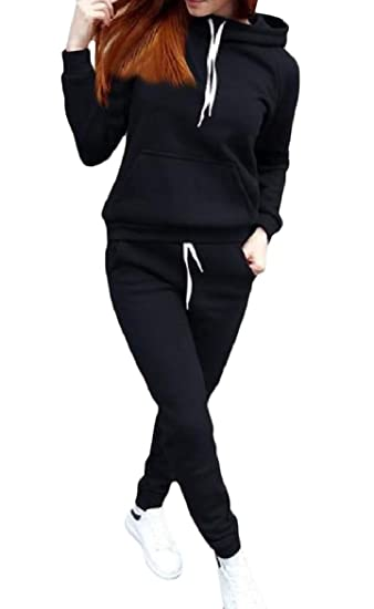 29835067d01d Abetteric Womens Weekend Pocketed Hoodie Plus Size Pure Color Set ...