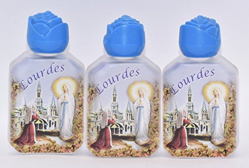3 Lourdes Holy Water Bottles Filled and Blessed by a Priest at Lourdes