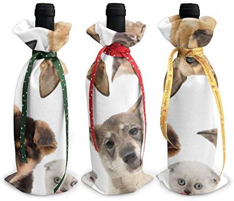 ワインバッグ クリスマスボトルカバー かわいい犬柄 シャンパンワインボトル3本用 12 X 34cm ワイン収納 3個ーテーマ ボトル装飾 ワインボトル用 かわいいドレス 3種類のデザイン ギフトバッグ 保管用 ギフトパッケージ
