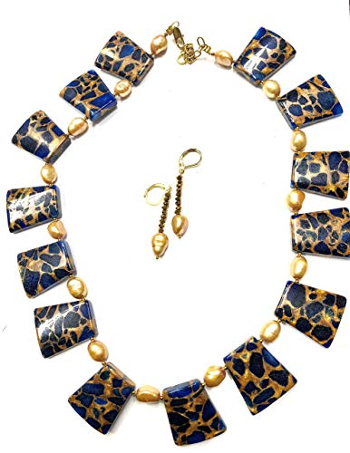 (ROYAL BLUE-NUGGETS GLASS BEADS IN ROYAL BLUE WITH PEARLS HANDMADE JEWELRY SET-READY TO SHIP )