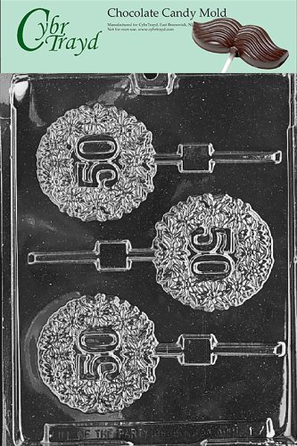 Cybrtrayd L017 50th Lolly Chocolate Candy Mold with Exclusive Cybrtrayd Copyrighted Chocolate Molding Instructions