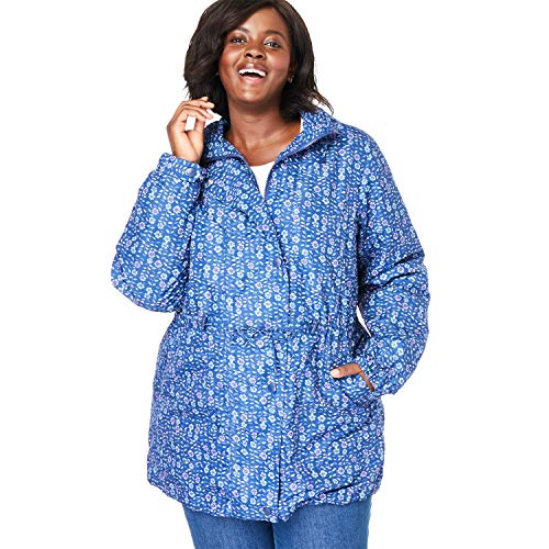 Evening Jacket Coat - Woman Within Women's Plus Size Fleece-Lined Taslon Anorak - Evening Blue Linear Floral, 2X