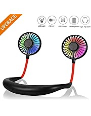 TOLEMI Handheld Fan Portable USB Fan Rechargeable Necklace Cooler 360° Rotating Personal Electric Fan for Cycling Running Travel Hiking Picnic Climbing Camping Golf Gym BBQ Office -