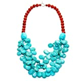 10mm Sponge Coral, Turquoise Necklace with 925 Sterling Silver Toggle Clasp 20""