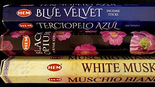 Dreams Incense (BLUE Velvet Black Opium White Musk 60 HEM Incense Stick 3 Scent Sampler Gift Set)