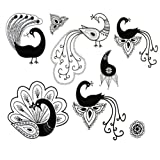 Set of 2 Vintage Peacock Body Tattoo Stickers Waterprrof Removable Fake Tattoos