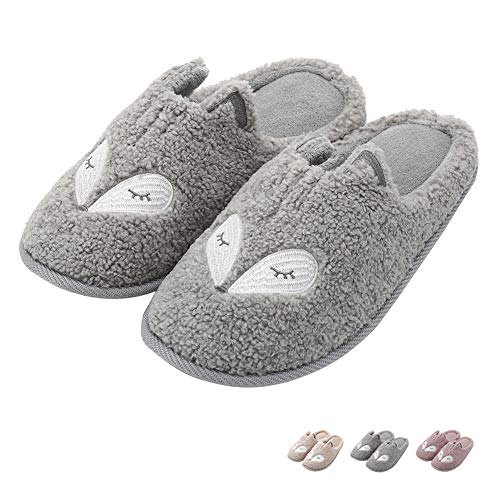 (Women Cute Animal Fox Slippers Memory Foam Home Slippers Warm Slip On Clog House Slippers Indoor Outdoor)