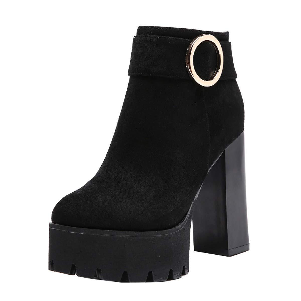 LBTSQ-Die Ferse Und Ferse Wasserdichte Plattform Kurze Stiefel 12Cm Runden Kopf Nackt Schuhe Mode Ma Dingxue