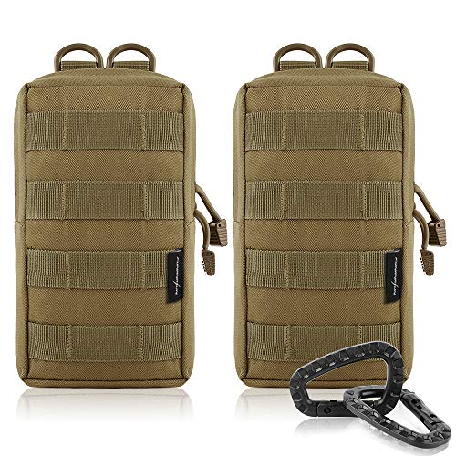 FUNANASUN 2 Pack Molle Pouches Tactical Compact Water Resistant EDC Pouch (Tan)