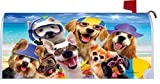 Beach Dogs - Mailbox Makeover Cover - Vinyl with Magnetic Strips for Steel Standard Rural Mailbox - Copyright, Licensed and Trademarked by Custom Decor Inc.