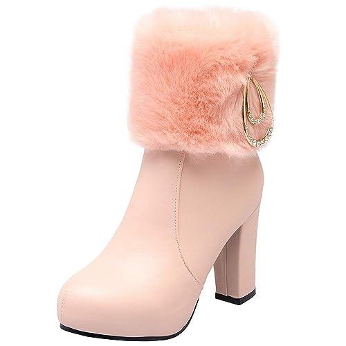 Zanpa Moda Botines Tacon Ancho Alto Zapatos de Invierno Cremallera Booties Boots SintšŠtico Pelaje Collar Lined Botas de Tacones con Plataforma Pink Tama?o ...