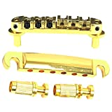 Greenten Gold Pating Roller Saddle Tune-O-Matic Guitar Bridge Tailpiece for Gibson SG Les Paul Electric Guitar Replacement