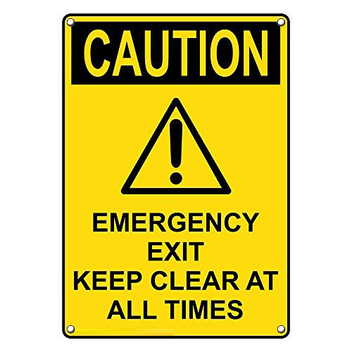 Weatherproof Plastic Vertical OSHA Caution Emergency Exit Keep Clear at All Times Sign with English Text and Symbol